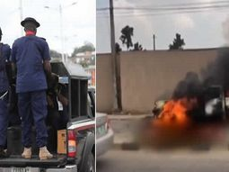NSCDC officers shot Keke driver for overtaking, later got their van burnt by angry youths