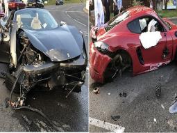 Supercars smash: ₦93 million Ferrari crashes into ₦47 million Porsche