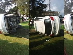 Lagos driver survived after car lost control & somersaulted