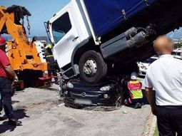 Woman in South Africa miraculously survives after truck crushes her car