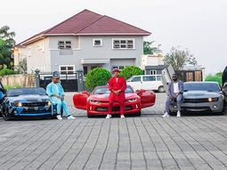 Alex Ekubo, Ik Ogbonna & Yomi Casual poses with their Chevrolet Camaro supercars
