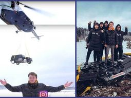 Russian blogger drops his ₦120m Mercedes G-Wagon from a Helicopter to the ground