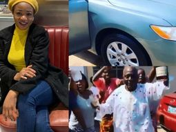 Francisca Ordega gifts her father Toyota Camry to celebrate Christmas