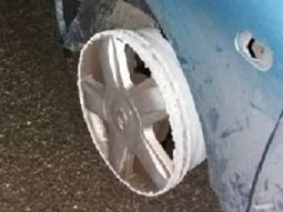 Drunken driver caught driving with two front tyres missing
