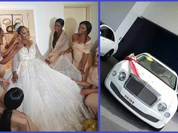 Linda Ikeji's sister wedding breaks social media for luxury cars & staggering number of bridesmaids