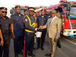 Enugu State Gov. Ugwuanyi presents 5 Innoson fire trucks to state fire service