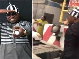 Musician Zaaki Azzay alights from his car in defense of lady at Lekki toll gate