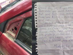 """See the note dropped by a """"Marlian"""" for the owner of the vehicle after stealing its side-mirrors"""