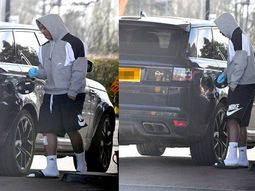 [Photos] Man Utd star, Anthony Martial uses gloves when filling up his Range Rover SUV to prevent COVID-19 infection