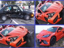 [Photos] Drunk driver crashes into a ₦24.8million 2020 Chevy Corvette C8 supercar that is just 2 days old