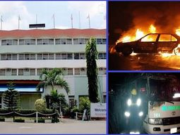 Fire outbreak in Lagos Airport Hotel destroys Toyota bus, Honda car, and a Cadillac Escalade SUV
