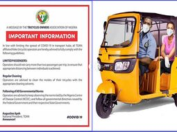 COVID-19: Tricycle Owners Association of Nigeria issues new regulations to protect riders and passengers
