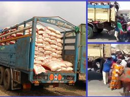 COVID-19: See the viral video that captured moment when hunger-struck residents raided truck conveying rice in Abuja