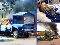 Angry youths in Abia state burn police patrol vehicles to protest death of a young man shot by a drunk police officer