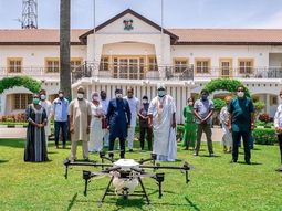 COVID-19: Popular Yoruba Monarch, Ooni of Ife donates drone sprinkler and 3 motorized fumigators to Lagos state government
