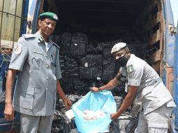 Nigeria Customs intercepts vehicle with COVID-19 sticker used for smuggling frozen chicken