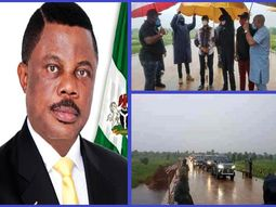 Anambra State governor defies heavy rain to inspect road projects
