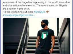 [Video] F1 car race champion, Lewis Hamilton, wears #EndSARS T-Shirt