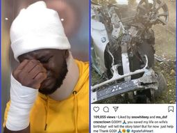 Nigerian comedian CrazeClown miraculously survives a ghastly car accident