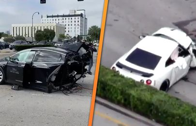 Tesla Model X cut into two from a horrific crash with a Nissan GT-R