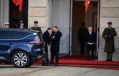 Shocking moment Armoured Renault Espace carrying President of France broke down during state visit to Poland