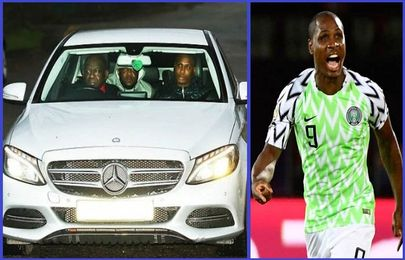 [Photos] Moment Nigerian Striker, Odion Ighalo arrives Man Utd training center in white Mercedes-Benz car