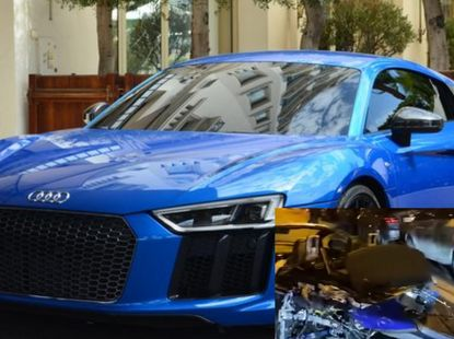 Rented Audi R8 supercar cut into halves after hitting 13 cars, funny clip emerges