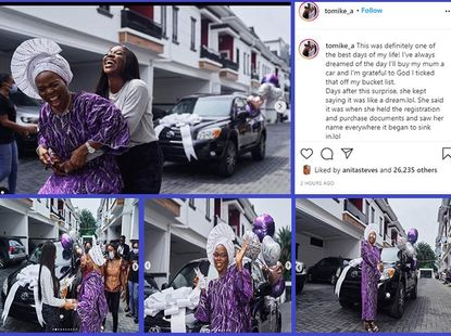 [Photos] Nigerian media personality Tomike Adeoye gifts her mum a new SUV