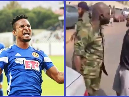 [Video] Nigerian footballer confronts soldier for driving against traffic