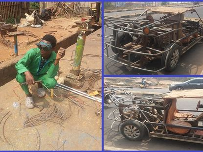 [Video] Young Nigerian man builds a functioning car from scrap metals