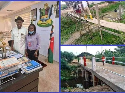 [Photos] Bayelsa female councilor builds a bridge with money for her cars